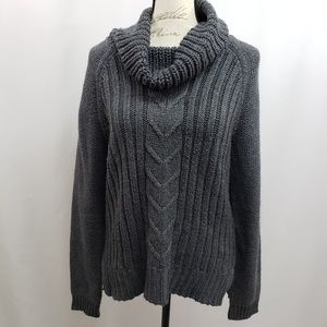 a.n.a. Shimmery Cowl Neck Cable Knit Sweater Lg